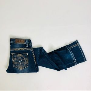 Cowgirl Up Thick Stitch Low Rise Easy Bootcut Jean